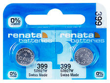 2 x Renata 399 Cell Battery Watch Mercury Free Silver Oxide SR927W 1.55V