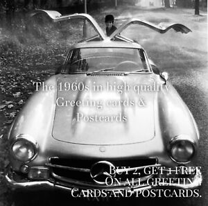 28. Gullwing Mercedes Benz 1965. Sixties Quality Greeting Card. Classic Car
