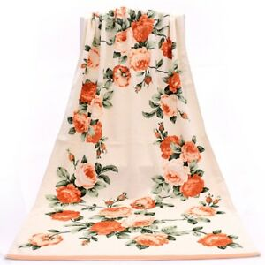 100% Cotton Roses Floral Printed Large Bath Towel Set for Body & Face