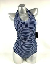 Nip Tuck Swimsuit 6 One Piece Striped Navy Mini Rope Halter Slimming NEW