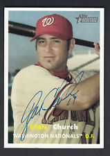 Ryan Church Autographed 2006 Topps Heritage Baseball Card #195 Nationals
