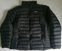 Patagonia Womens Large Black Goose Down Sweater Jacket Model 84683 *Flaw
