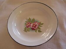 NEW Square Nest White Shabby Chic Tin Enamel Bowl Dish Plate Pink Flowers NICE!