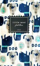 New Little Rebel Plush Throw Blanket 50 x 60 Blue & Gray Dogs on White