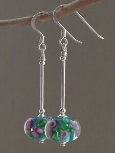 Floral Lampwork Glass Sterling Silver Earrings