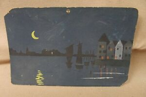 Watercolor Painting Postcard Waterfront Bath Maine At Night Sickle Moon