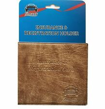 """Tan AUTO CAR INSURANCE REGISTRATION HOLDER WALLET 5.25x4.6""""Embossed Faux-Leather"""