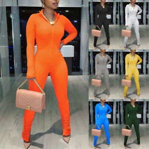 New Womens Sexy Long Sleeve Zipper Bodycon Skinny Jumpsuit Pants Romper Overalls
