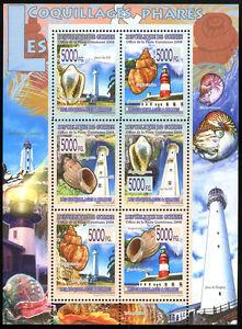 Guinea, Souv. Sheet, MNH. Lighthouses and Shells, 2008