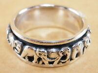 Handmade Genuine 925 Sterling Silver Spinner Rotatable Elephants Ring Size 9.25