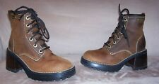 AWESOME Women's Brown Leather Skechers Plateau Mesa Motorcycle Lace Up Boots 5.5