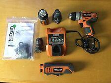 "RIDGID Drill - Job max - Flashlight - universal battery - charger. ""Used"""