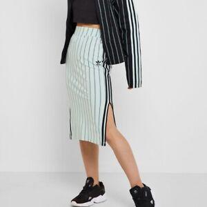 NWT Women Adidas 3 Stripes Skirt VAPOUR /Mint  GREEN 2XS Midi Logo Pinstripe