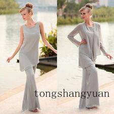 de3081ef1a2 New Pants Suit Mother Of The Bride Dress +jacket Chiffon Formal Gowns Plus  Size