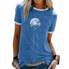 Women Summer Short Sleeve T Shirt Crew Neck Casual Blouse Floral Print Slim Tops