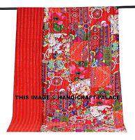 Indian Patchwork Kantha Bedspread Cotton Quilt Vintage Throw Blanket Twin Gudri