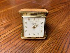 Vintage Helbros Travel Alarm Clock Folding Leather Case
