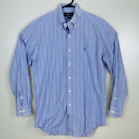 Polo Ralph Lauren Long Sleeve Oxford Shirt Plaid Mens Sz M 15 32/33 Blue Pink