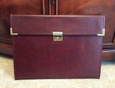 Vtg Hazel Burgundy Leather Document Portfolio Note Pad Folio Folder Cover Case