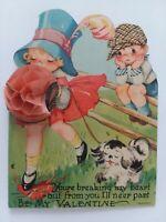 Vtg 1940-50s Little GIRL Honeycomb Muff Breaking HEART VALENTINE GREETING CARD