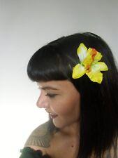 Pince clip cheveux fleur orchidée jaune coiffure pin-up rétro rockabilly