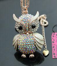 A677Y   Betsey Johnson Crystal AB Enamel Cute Owl Pendant Long Necklace