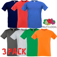3 x Fruit of The Loom MEN'S T-SHIRT GYM FITTED SLIM FIT PLAIN TEE TSHIRTS 3 PACK