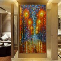 Mintura Handmade Modern Abstract Rain Day Knife Oil Paintings On Canvas Wall Art