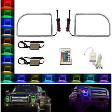 11-16 Ford F-250 Multi-Color Changing LED RGB Halo Upper Headlight Rings Pair IR