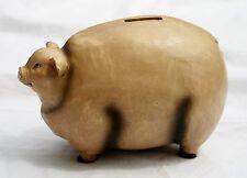 Fok Art Piggy Bank Faux Carved Pig Hog Country Decor