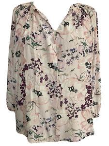 Designer Tucker Pink Floral Print 100% Silk Smock Blouse Top Shirt S UK 10-12