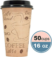 16 Ounce Disposable Paper Coffee Hot Cups With Black Lids And Coffee Stencil