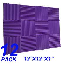 12 Pack1x12x12 Purple/CHARCOAL Acoustic Soundproofing Studio Foam Tiles