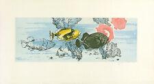 FRITZ NEUMANN SIGNED (AKA RIC) Vintage c.1960's Etching THREE OCEAN FISH & CORAL