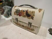 VINTAGE METAL WORK LUNCHBOX BOX DECOUPAGE TOLL PAINTED ANTIQUE