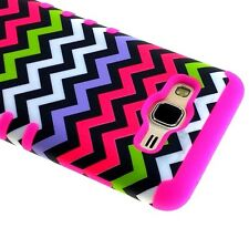 For Samsung Galaxy On5 G550 - HARD & SOFT RUBBER HYBRID COVER CASE PINK CHEVRON