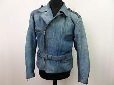 "Vntg Real Leather Biker Jacket Mens Sanmaru Size 44"" Denim Textured Grade A Z553"