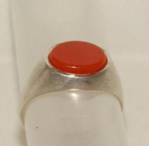 Silber Ring  mit Jaspis altes Stück  Gr 62  gepunzt  aus dem Jahr 1975  Unisex