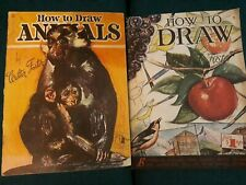 Lot of 2 Vintage Walter T Foster How to Draw Technique Books Animals Butterflies