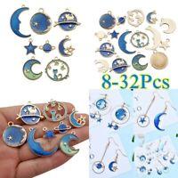 32PCS Moon/Star/Planet Enamel Charm Pendant For DIY Earrings/Bracelet Craft US