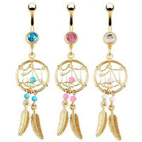 IM- Gold-tone Dream Catcher Feather Beads Belly Button Navel Ring Barbell Precio