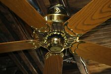 "Restored Vintage Casablanca Delta II Bright Brass 50"" Ceiling Fan Made in USA!"