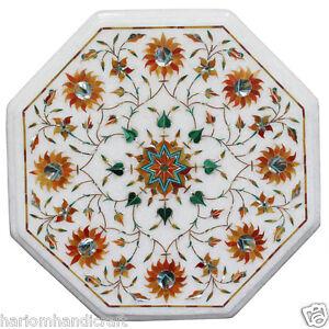 "12"" White Marble Side Coffee Table Top Hakik Malachite Stone Mosaic Decor H2353"
