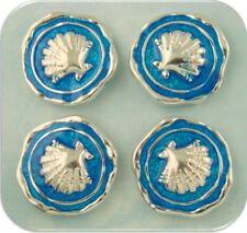 2 Hole Beads Seashells Scallops AQUA ~ Shells OCEAN SEA BEACH Metal Slider QTY 4