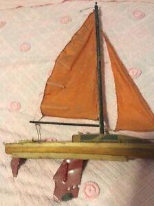 Vintage Antique Handmade Wooden Sailboat Sailing Handmade Folk Art Boat Ship