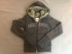 Abercrombie Faux Fur-Lined Sweatshirt Hoodie Jacket Women Brown Size S