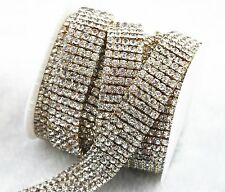5 Row SS16 Clear Crystal Rhinestone Gold Plated Close Chain Cake Decoration LZ07
