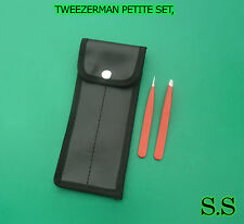 TWEEZER Red Color SET, MINI SLANT & POINT TWEEZER, STAINLESS STEEL
