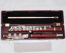 Professional New Grenadilla Rose Wooden Flute Open Hole B foot In-Line G W/Case