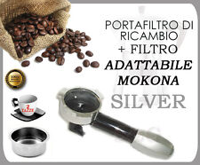 BOOM ARM FILTER HOLDER SILVER FOR MOKONA BIALETTI GAGGIA G107 + 2 CUPS FILTER